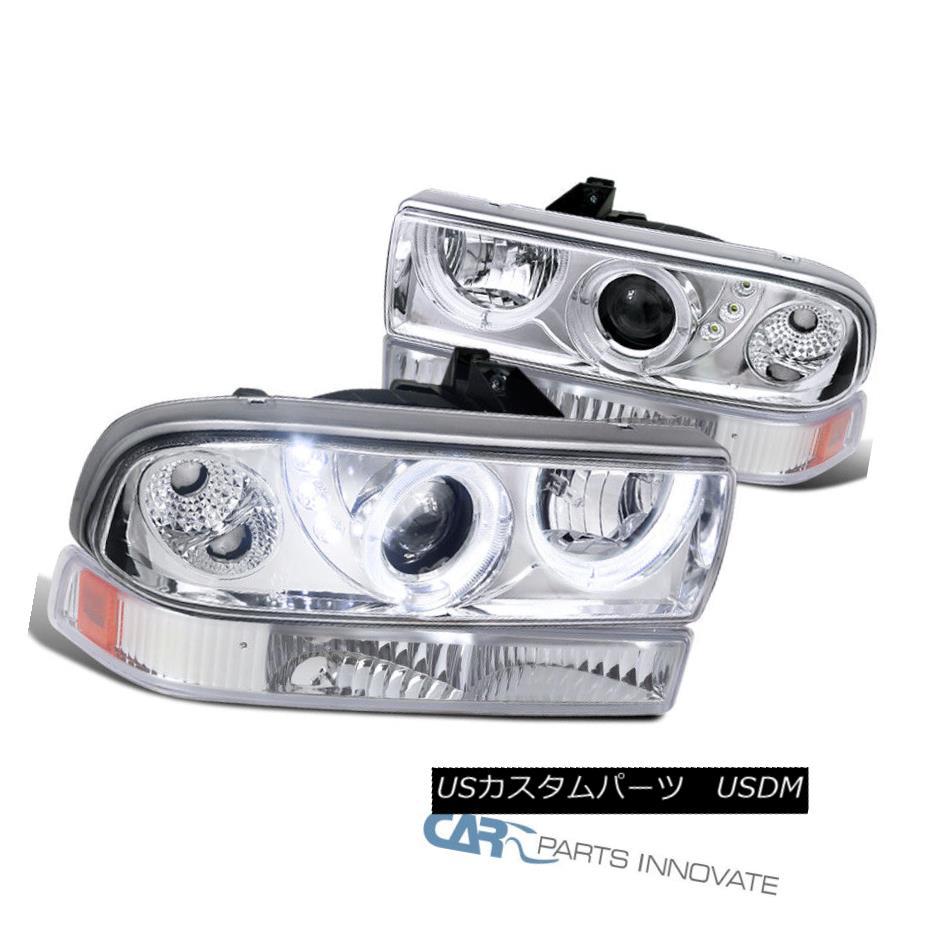 ヘッドライト 98-04 Chevy S10 Blazer Clear SMD LED DRL Projector Headlights+Bumper Lamps Pair 98-04 Chevy S10 Blazer Clear SMD LED DRLプロジェクター・ヘッドライト+ Bum