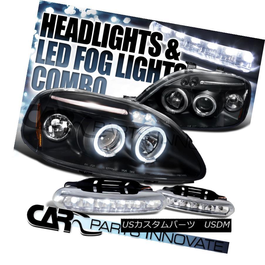 ヘッドライト Fit 96-98 Civic Black Halo LED Projector Headlights+6-LED DRL Fog Bumper Lamps フィット96-98シビックブラックハローLEDプロジェクターヘッドライト+ 6-L  ED DRLフォグバンパーランプ