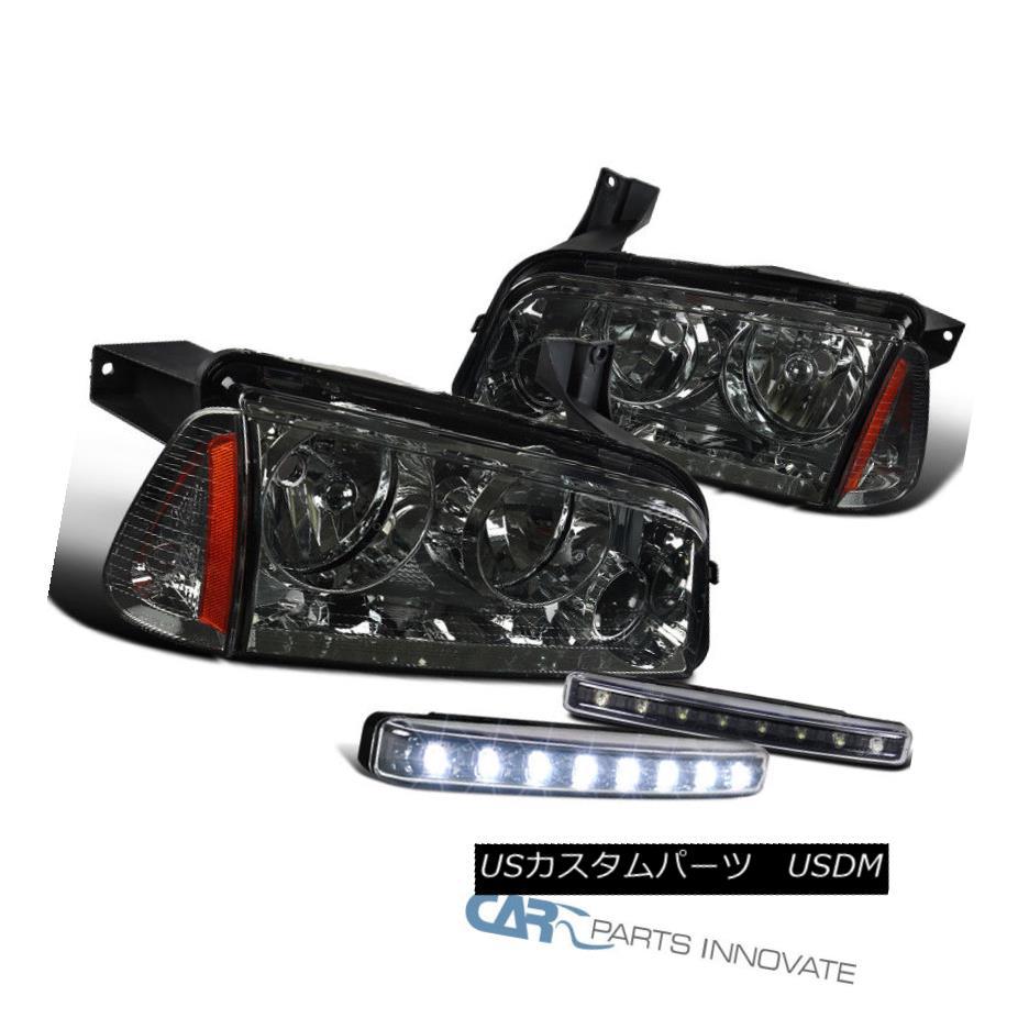 ヘッドライト Dodge 06-10 Charger Smoke Headlights +Corner Lamps+Black 8-LED DRL Fog Lights ドッジ06-10充電器の煙のヘッドライト+コーナーランプ+ブラック8 LED DRLフォグライト