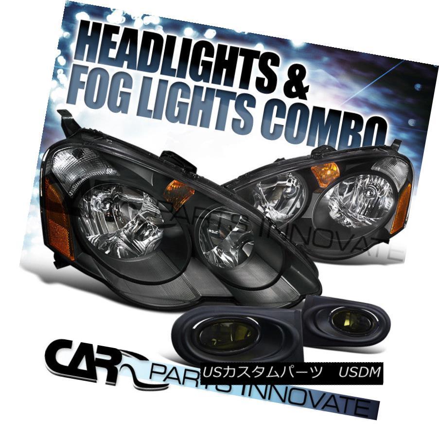 ヘッドライト 2002-2004 Acura RSX DC5 Black Crystal Headlights+Smoke Fog Bumper Lamp 2002-2004アキュラRSX DC5ブラッククリスタルヘッドライト+スモール keフォグバンパーランプ