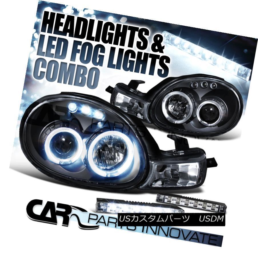 ヘッドライト 00-02 Dodge Neon Plymouth Black Dual Halo Projector Headlights+6-LED Fog Lamps 00-02 Dodge Neon Plymouthブラックデュアルハロープロジェクターヘッドライト+ 6-L  EDフォグランプ