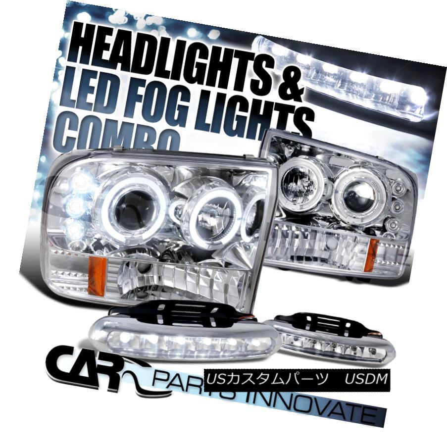 ヘッドライト 99-04 F250 Super Duty Excursion Clear Halo Projector Headlights+6-LED Fog Lamps 99-04 F250スーパーデューティーエクスカーションクリアハロープロジェクターヘッドライト+ 6-L  EDフォグランプ