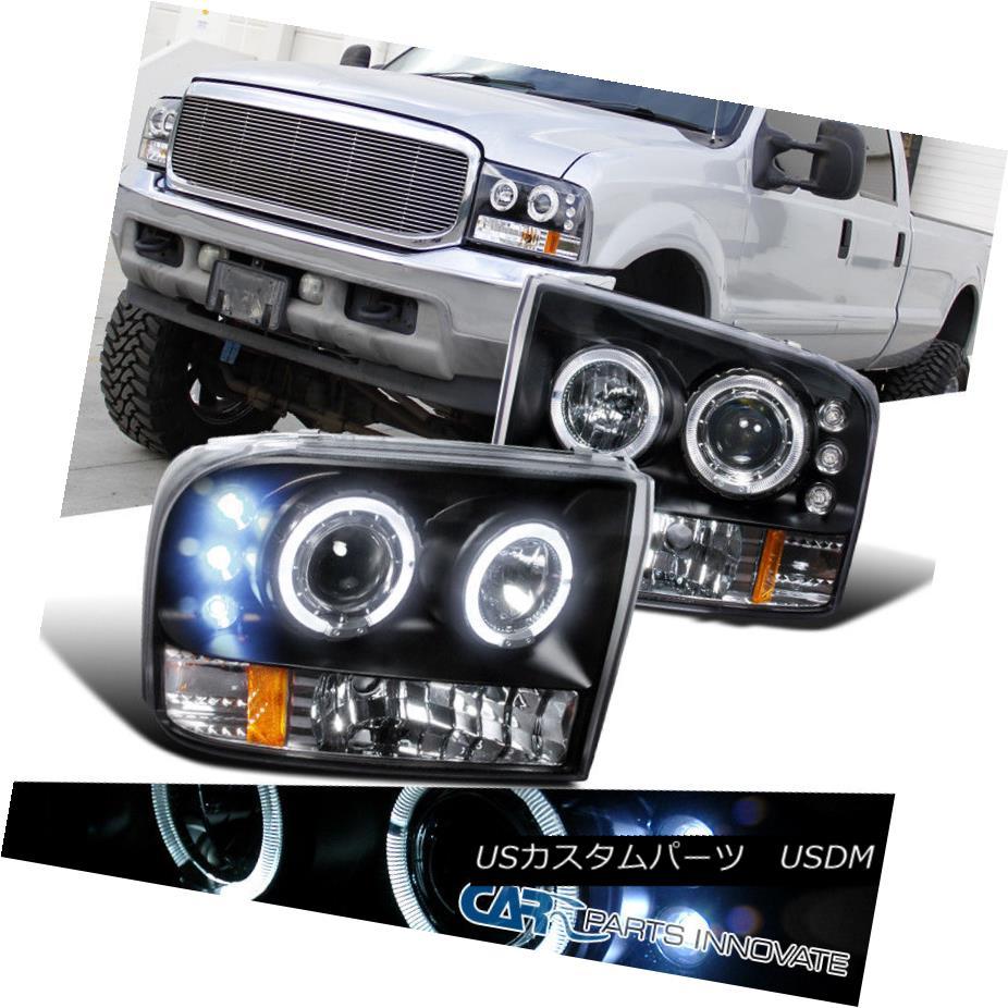 ヘッドライト 99-04 F250 F350 F450 F550 Super Duty Black LED Halo Projector Headlights Lamps 99-04 F250 F350 F450 F550スーパーデューティブラックLEDハロープロジェクターヘッドランプ