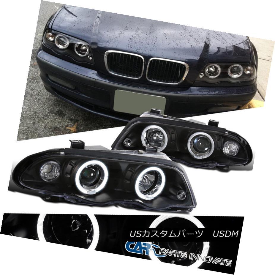 ヘッドライト 99-01 BMW E46 3-Series 4Dr Dual Halo Black Projector Headlights Head Lamps Pair 99-01 BMW E46 3シリーズ4Drデュアルハローブラックプロジェクターヘッドライトヘッドランプペア