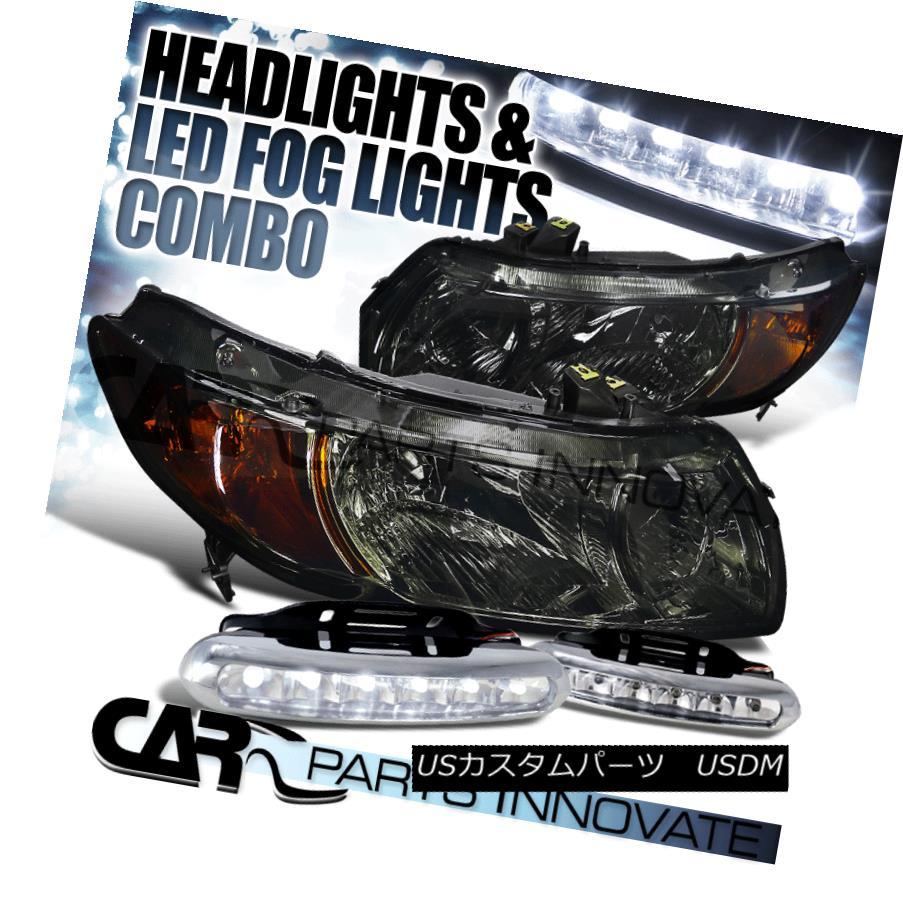 ヘッドライト Fit 06-11 Honda Civic 2Dr Coupe Smoke Crystal Headlights Lamp+LED Fog Bumper DRL フィット06-11ホンダシビック2Drクーペスモーククリスタルヘッドライトランプ+ LEDフォグバンパーDRL