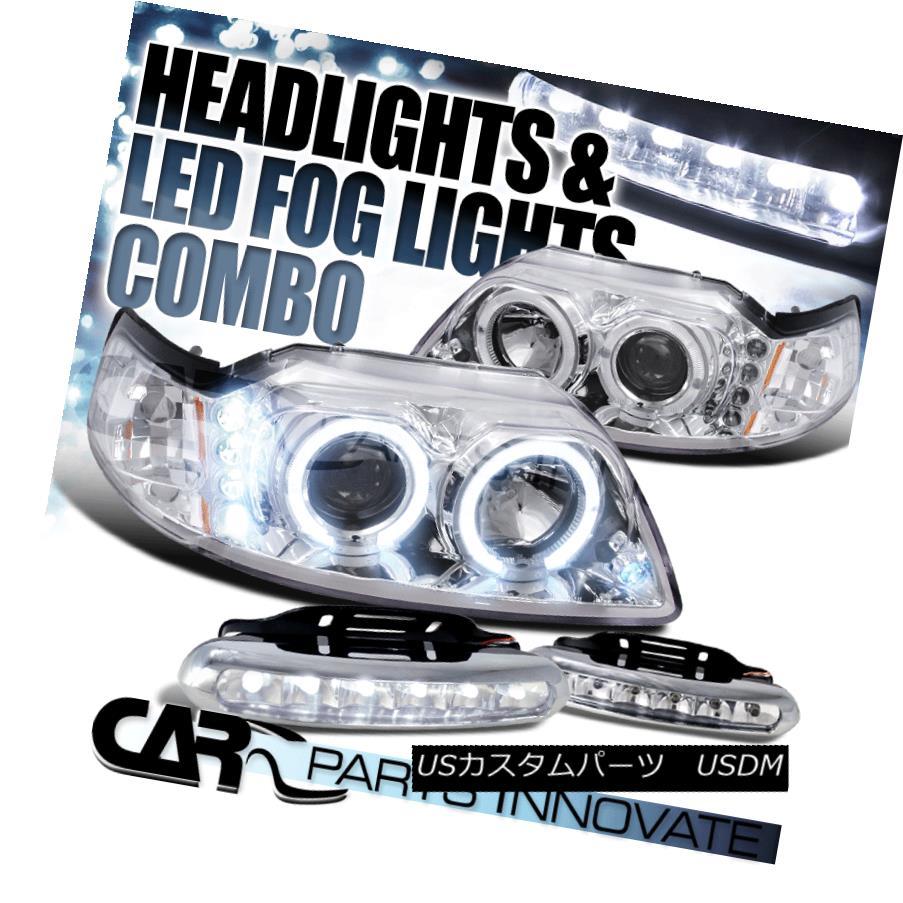 ヘッドライト Ford 99-04 Mustang Chrome Twin Halo Projector Headlights+6-LED Fog Lamps フォード99-04ムスタングクロムツインハロープロジェクターヘッドライト+ 6-L  EDフォグランプ