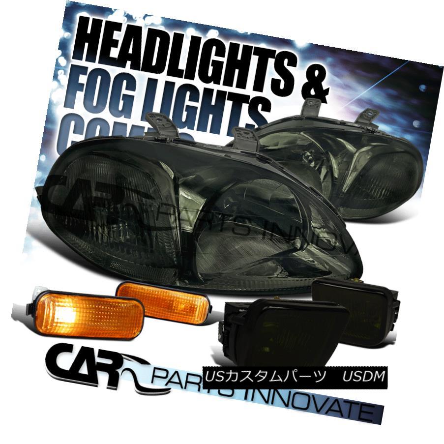 ヘッドライト Fit 96-98 Honda Civic EK EJ Smoke Headlights+Amber Side Marker+Tinted Fog Lamp フィット96-98ホンダシビックEK EJスモークヘッドライト+アンバー サイドマーカー+着色フォグランプ