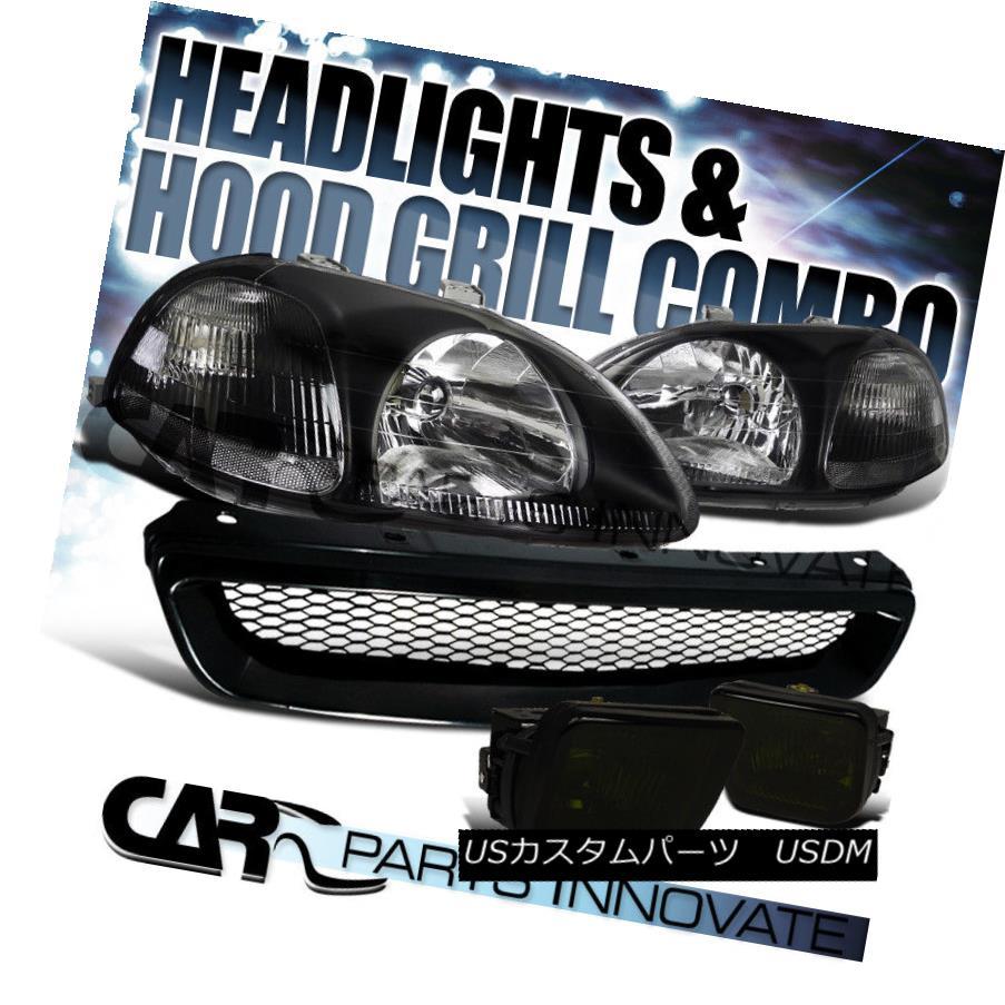 ヘッドライト Fit 1996-1998 Honda Civic Black Headlights+Smoke Fog Bumper Lamp+Mesh Grille フィット1996-1998ホンダシビックブラックヘッドライト+スモーキー keフォグバンパーランプ+メッシュグリル