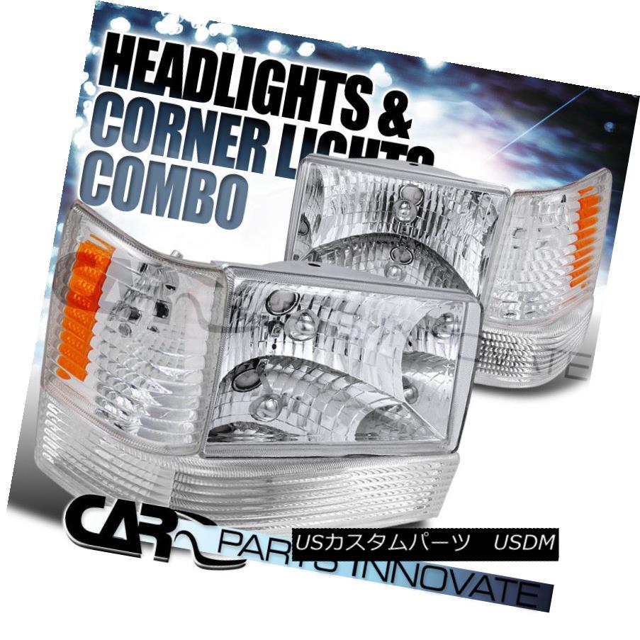 ヘッドライト 1993-1996 Jeep Grand Cherokee Crystal Clear Headlights w/ Bumper Corner Lamps 1993-1996 Jeep Grand Cherokeeクリスタルクリアヘッドライト(バンパーコーナーランプ付)