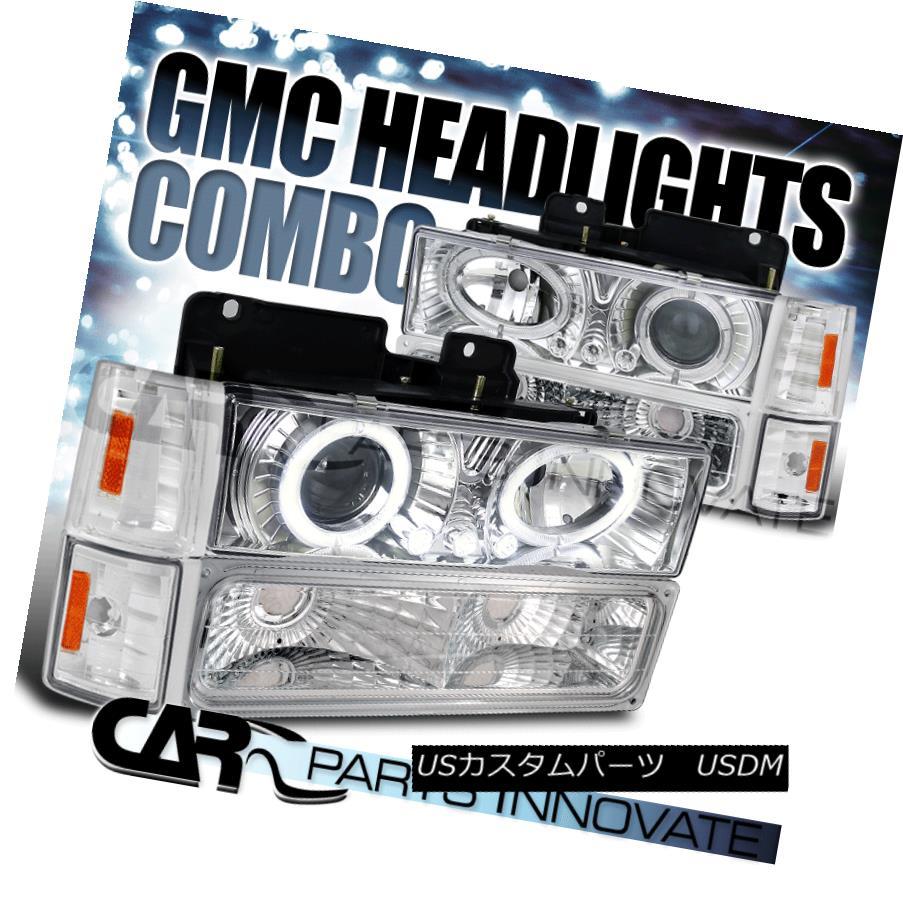 ヘッドライト 94-98 C10 C/K Suburban Yukon Halo LED Projector Headlights+Bumper Corner Chrome 94-98 C10 C / K郊外のYukon Halo LEDプロジェクターヘッドライト+ブール