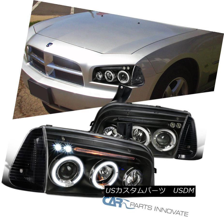 ヘッドライト Dodge 06-10 Charger Black Dual Halo Projector LED Headlights+Corner Signal Lamps ドッジ06-10充電器黒色デュアル・ハロー・プロジェクターLEDヘッドライト+コルク nerシグナルランプ