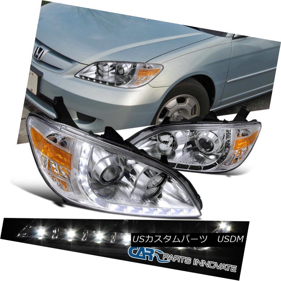 ヘッドライト Fit Honda 04-05 Civic 2/4Dr Replacement Clear R8 Style LED Projector Headlights フィットホンダ04-05シビック2 / 4Dr交換用クリアR8スタイルLEDプロジェクターヘッドライト