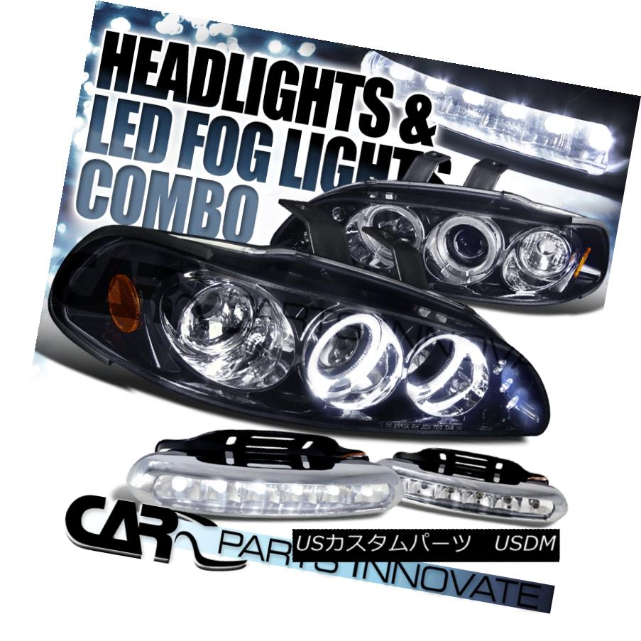 ヘッドライト Glossy Black Fit 92-95 Civic 2/3/4Dr Smoke LED Projector Headlight+LED Fog Lamp 光沢ブラックフィット92-95シビック2/3 / 4Dr煙LEDプロジェクターヘッドライト+ LEDフォグランプ