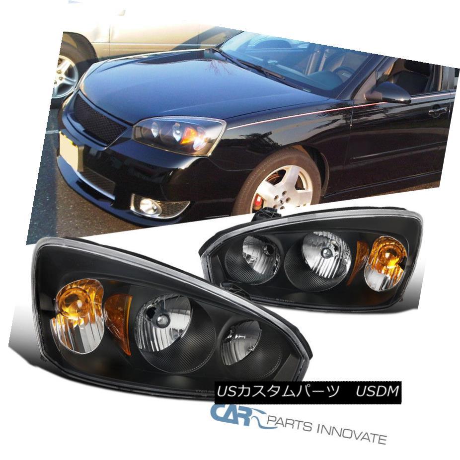 ヘッドライト 04-08 Chevy Malibu Replacement Black Headlights Driving Lights Head Lamps Pair 04-08シボレーマリブ交換用ブラックヘッドライト運転灯ヘッドランプペア