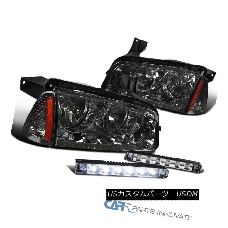 ヘッドライト 06-10 Dodge Charger Smoke Lens Headlights+Corner Lamps+Slim 6-LED Bumper Fog 06-10ダッジチャージャースモークレンズヘッドライト+ Cor  nerランプ+スリム6-LEDバンパーフォグ