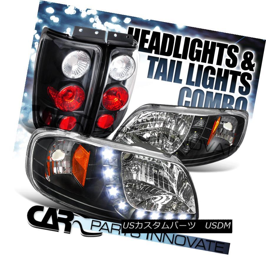 ヘッドライト 1997-2002 Expedition Black Crystal Headlights+SMD LED DRL+Black Tail Lamp 1997-2002遠征ブラッククリスタルヘッドライト+ SMD LED DRL +ブラックテールランプ