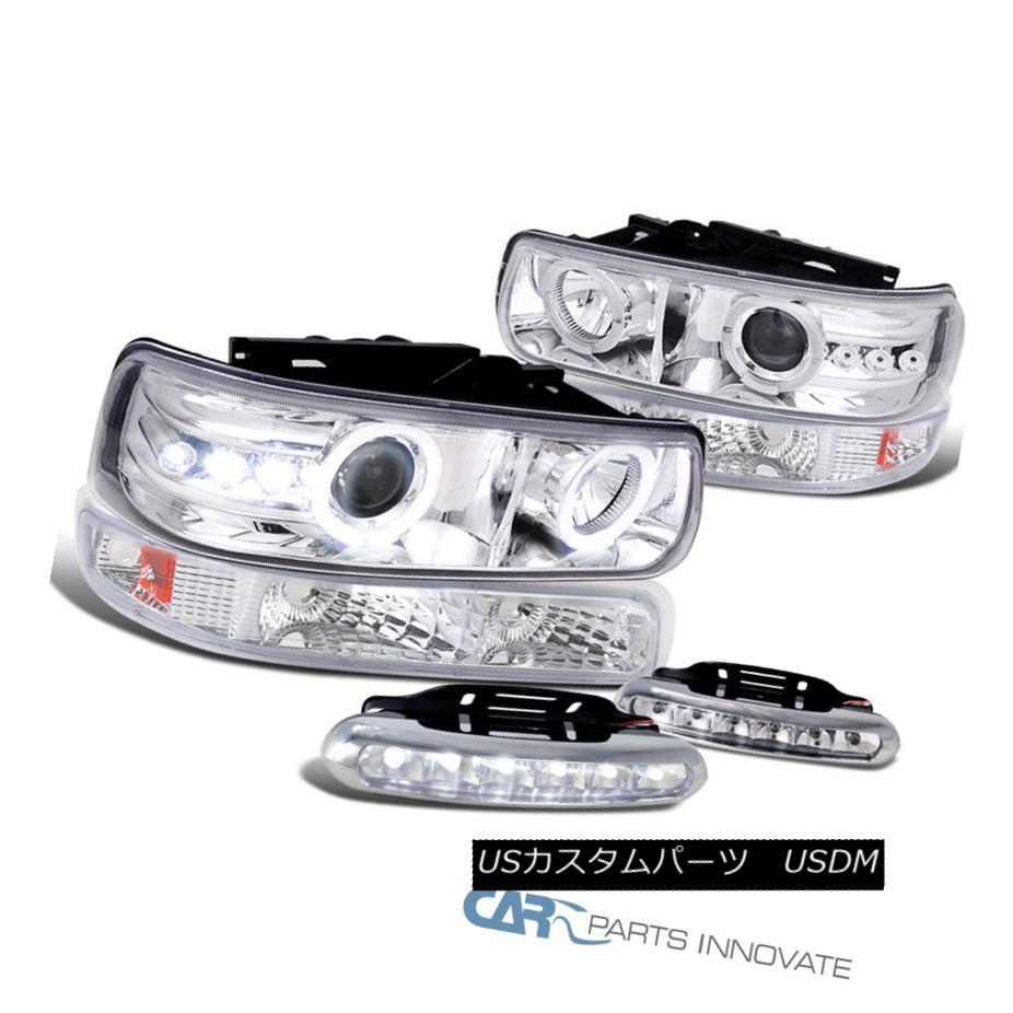 ヘッドライト 99-06 Silverado Tahoe Suburban Clear Projector Headlights+Bumper+6-LED Fog Lamps 99-06シルバード・タホ郊外クリア・プロジェクター・ヘッドライト+ Bum  + 6-LEDフォグランプ