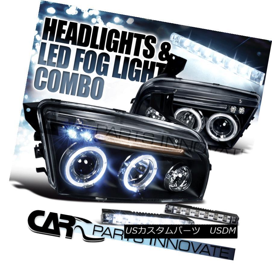 ヘッドライト 06-10 Dodge Charger Black Dual Halo Projector Headlights+6-LED Fog Lamps 06-10ダッジチャージャーブラックデュアルハロープロジェクターヘッドライト+ 6-L  EDフォグランプ