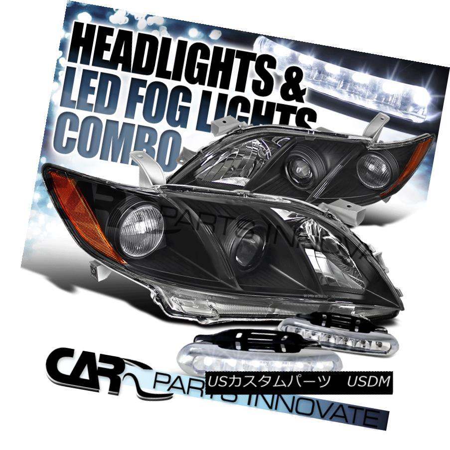 ヘッドライト For 07-09 Toyota Camry CE LE SE Black Projector Headlights+LED Fog Bumper DRL 07-09用トヨタカムリCE LE SEブラックプロジェクターヘッドライト+ LEDフォグバンパーDRL