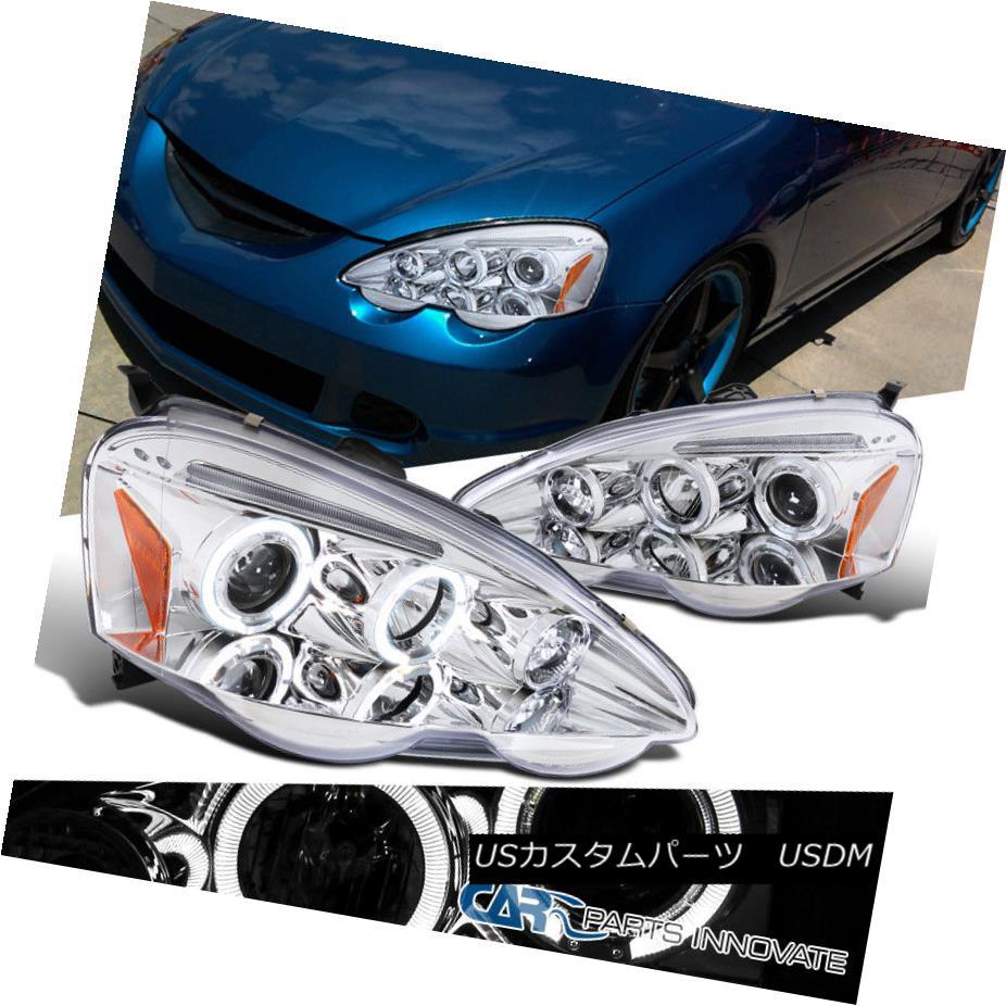ヘッドライト Acura 02-04 RSX DC5 Clear LED Halo Projector Headlights Driving Lights Lamps アキュラ02-04 RSX DC5クリアLEDハロープロジェクターヘッドライトドライビングライトランプ