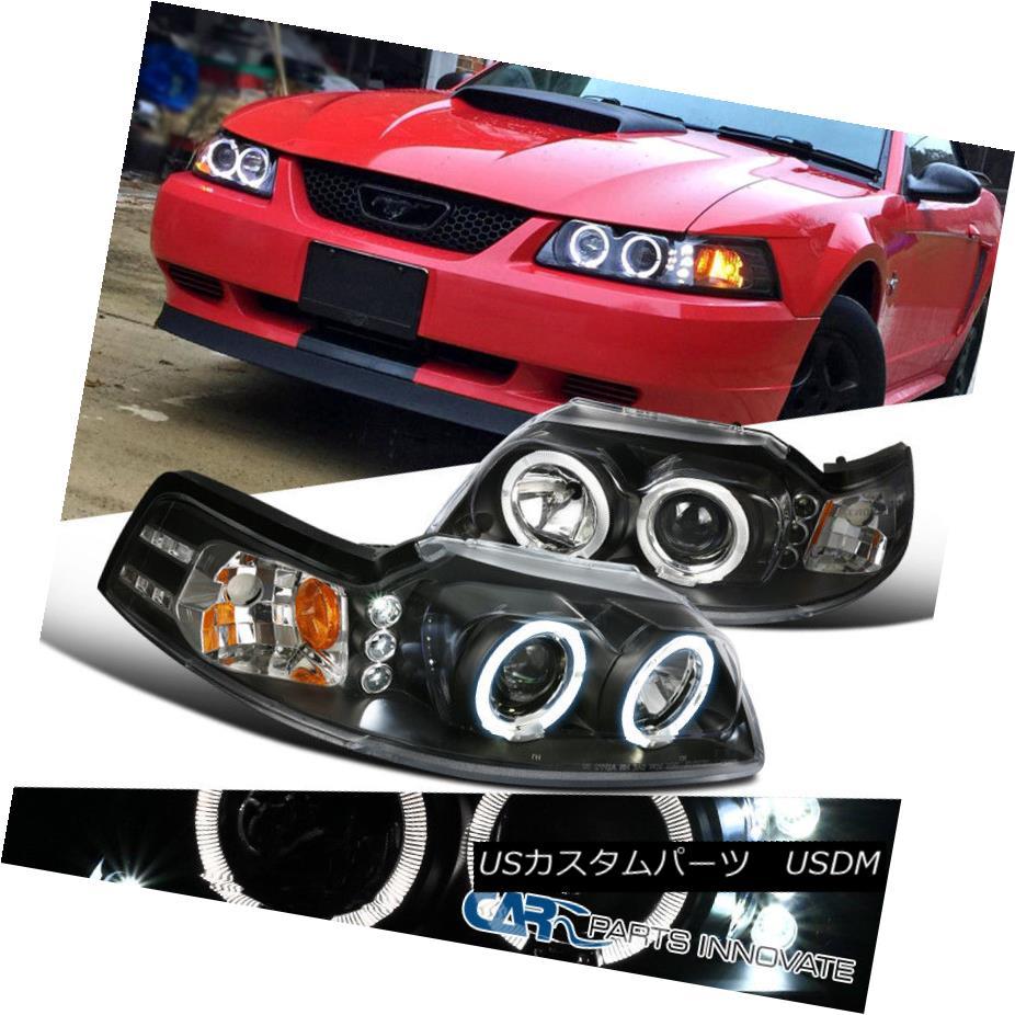 ヘッドライト Ford 99-04 Mustang Replacement Black LED Halo Projector Headlights Head Lamps フォード99-04マスタング交換黒色LEDハロープロジェクターヘッドライトヘッドランプ
