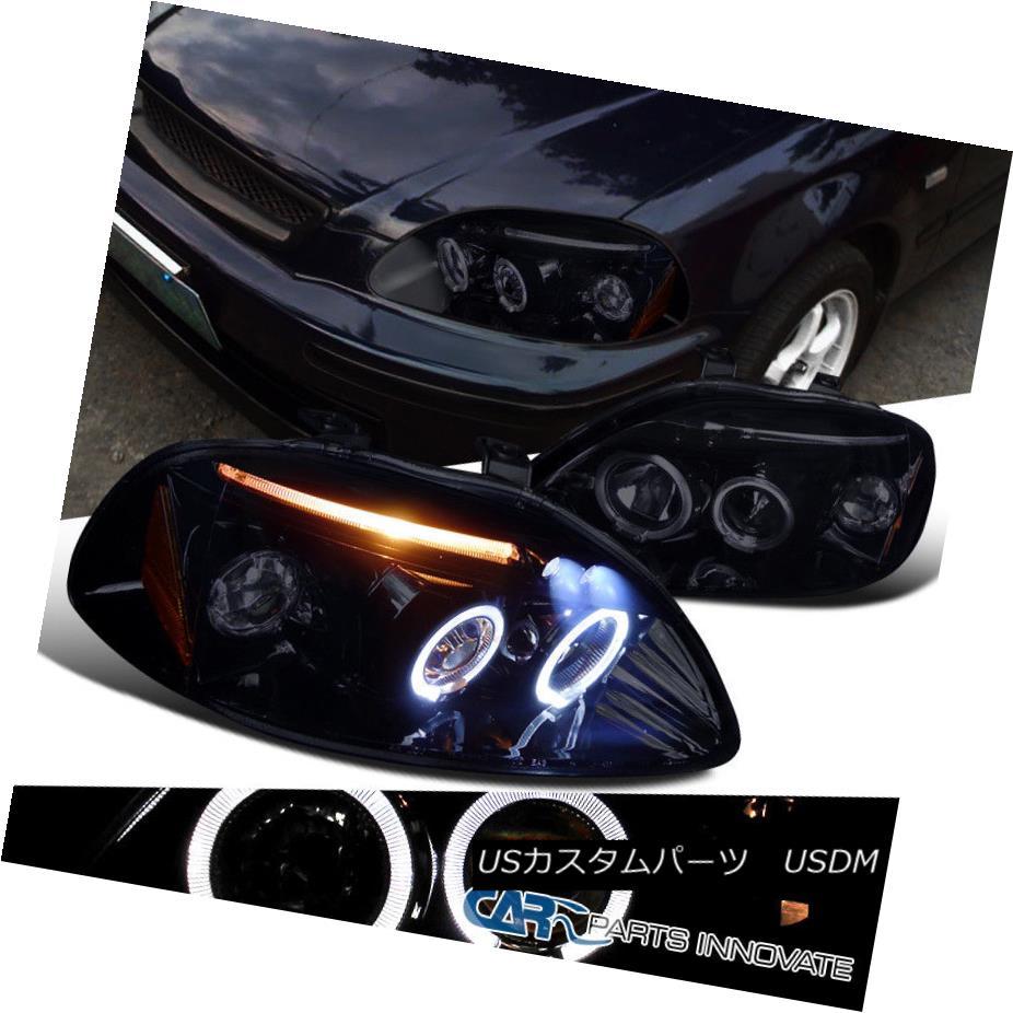 ヘッドライト Glossy Piano Black Fit Honda 96-98 Civic 2/3/4Dr Tinted LED Projector Headlights 光沢のあるピアノブラックフィットホンダ96-98シビック2/3 / 4Dr色付きLEDプロジェクターヘッドライト