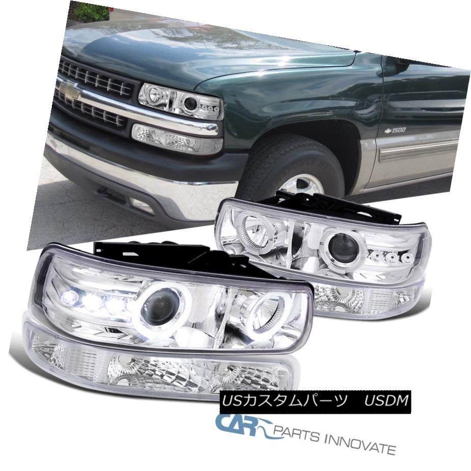 ヘッドライト 99-02 Silverado 00-06 Tahoe Suburban Clear Projector Headlights+Bumper Lamps 99-02 Silverado 00-06タホ郊外クリアプロジェクターヘッドライト+ブーラム
