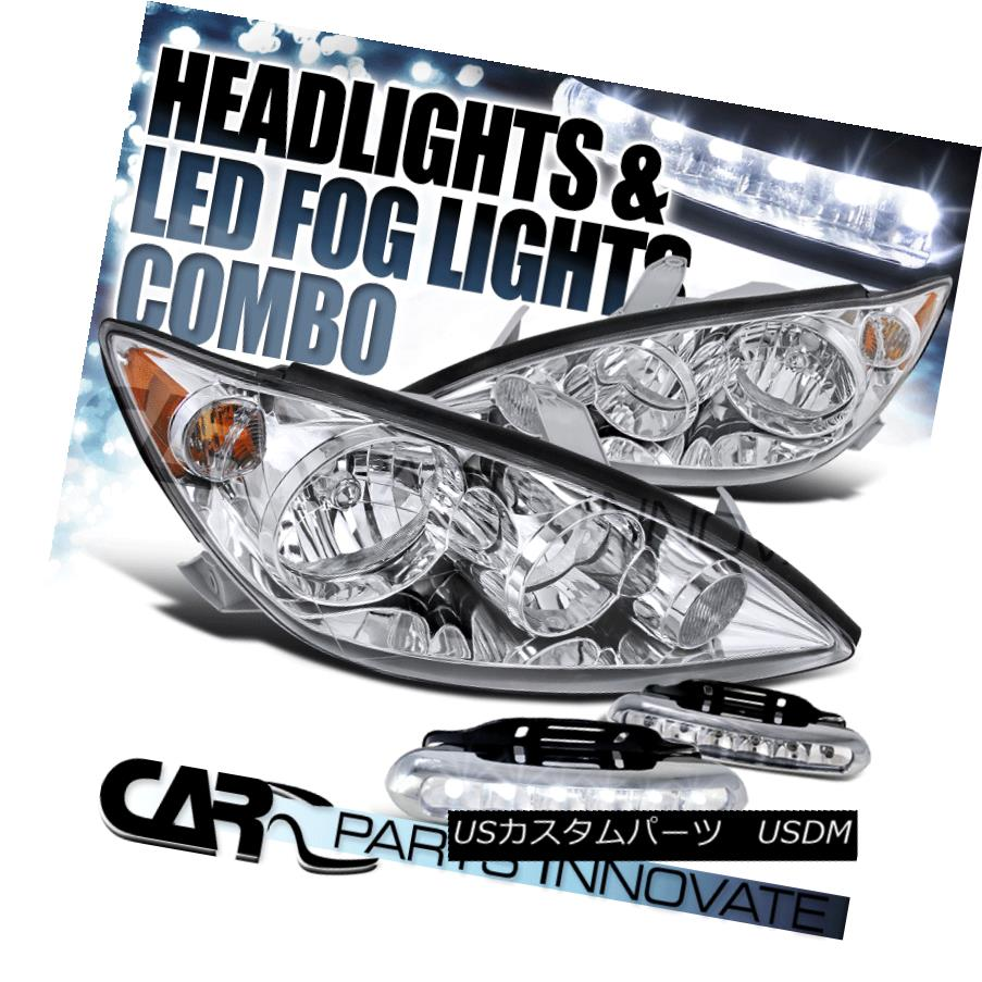 ヘッドライト For 05-06 Toyota Camry Base LE SE XLE Clear JDM Headlights+LED Fog DRL Lights 05-06用トヨタカムリベースLE SE XLEクリアJDMヘッドライト+ LEDフォグDRLライト