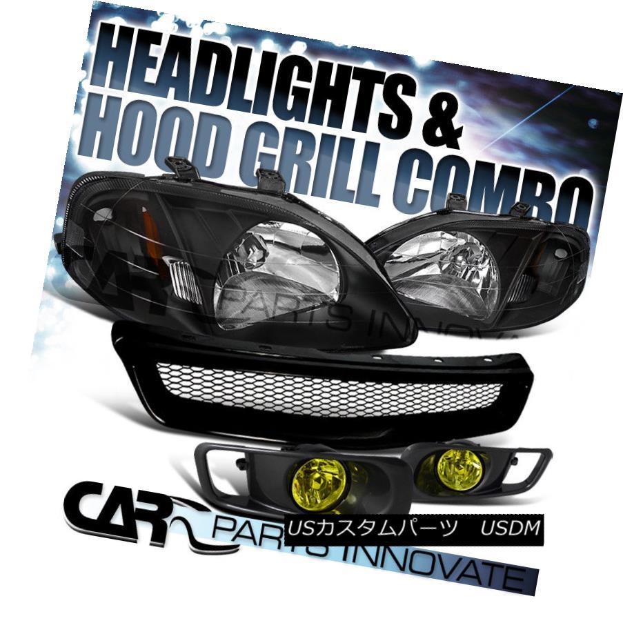 ヘッドライト For 99-00 Civic Headlights Black+Fog Bumper Lamp Yellow+Front Mesh Hood Grille 99-00シビックヘッドライト用ブラック+フォグバンパーランプイエロー+フロントメッシュフードグリル