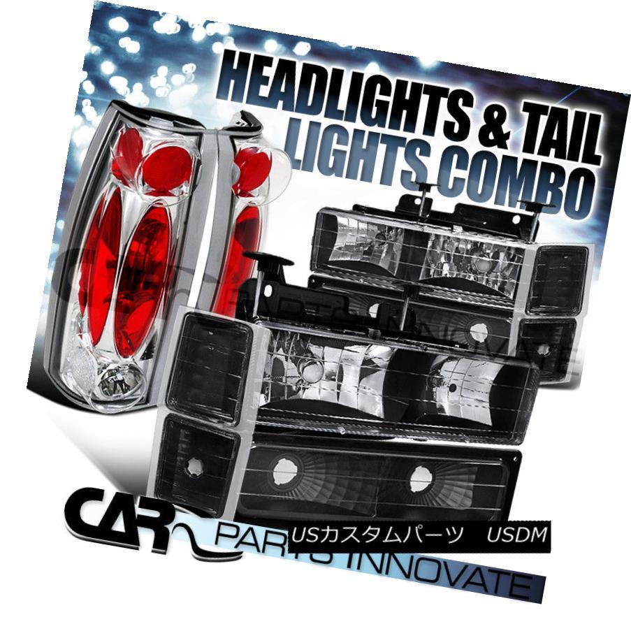 ヘッドライト 94-98 Chevy C10 C/K 1500 2500 Black Headlights+Bumper Corner+Chrome Tail Lamp 94-98 Chevy C10 C / K 1500 2500ブラックヘッドライト+ブーン /コーナー+クロームテールランプ