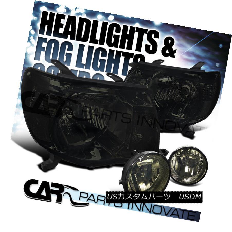 ヘッドライト For 05-11 Toyota Tacoma Pickup Smoke Lens Head Lights+Tinted Fog Bumper Lamps 05-11トヨタタコマピックアップスモークレンズヘッドライト+着色フォグバンパーランプ