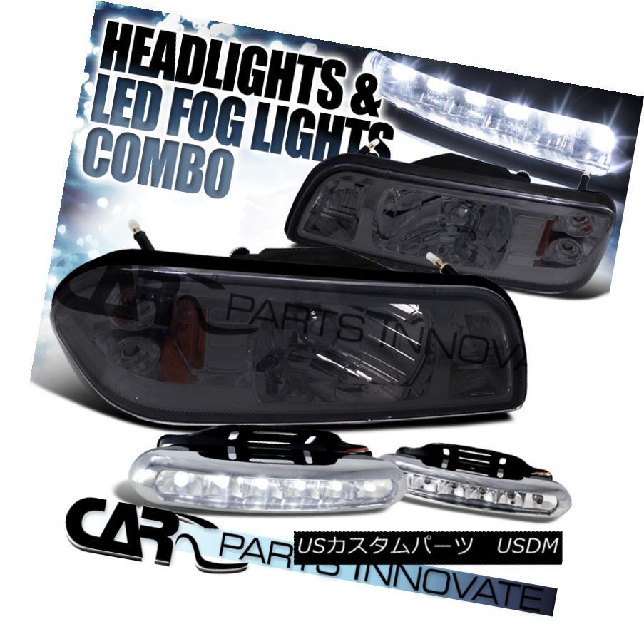 ヘッドライト 87-93 Mustang 1-Piece Style Smoke Tint Headlights Corner Lamps+6-LED Fog Lamps 87-93ムスタング1ピーススタイルスモークティントヘッドライトコーナーランプ+ 6-LEDフォグランプ