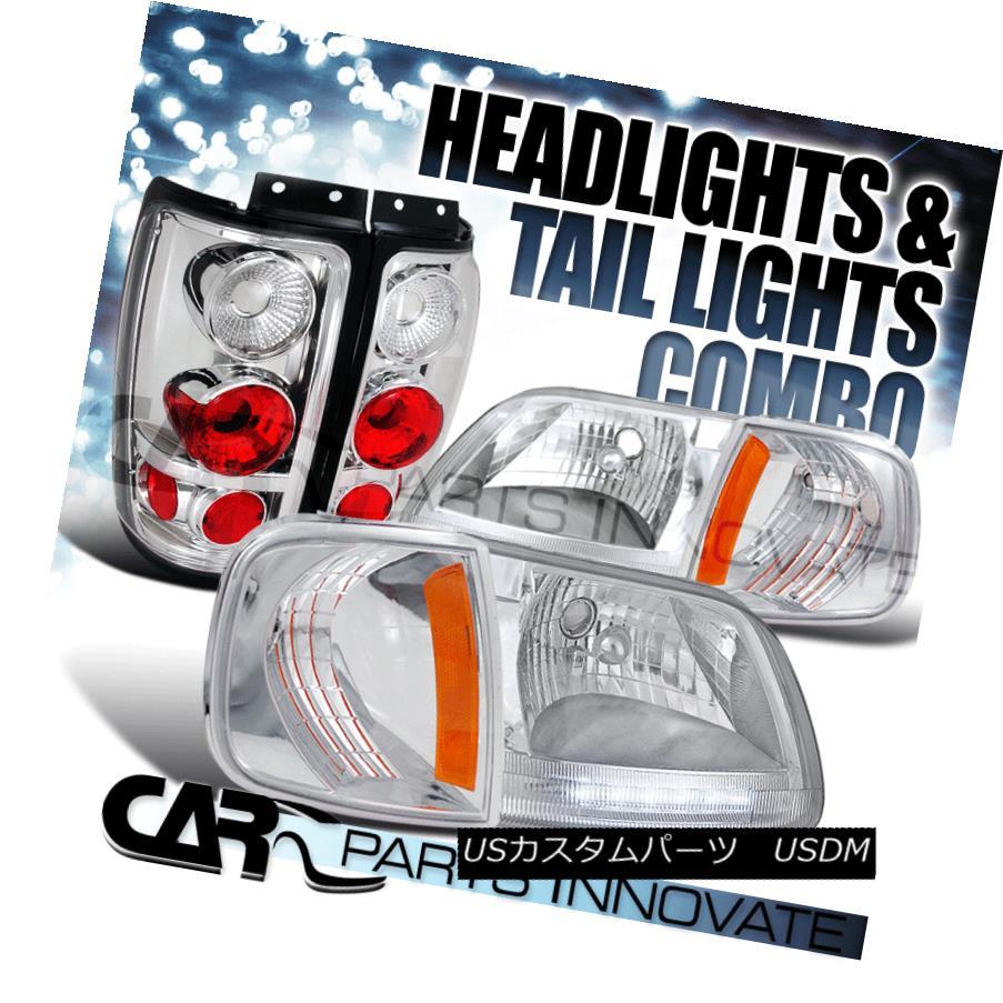 ヘッドライト 1997-2002 Ford Expedition Chrome LED DRL Headlights+Corner+Clear Tail Lamps 1997-2002 Ford ExpeditionクロームLED DRLヘッドライト+ Cor  ner +クリアテールランプ