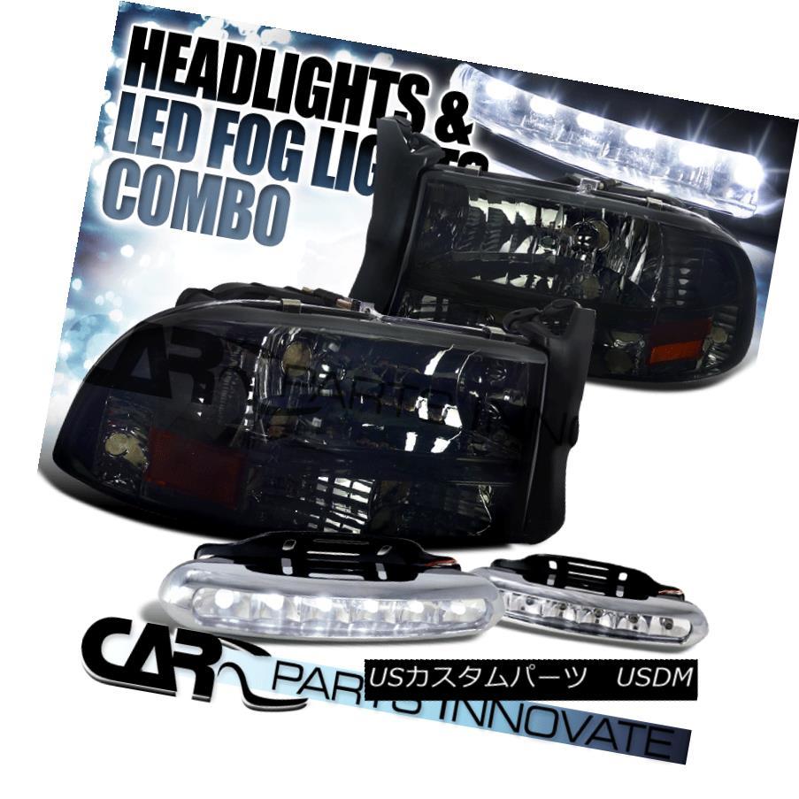 ヘッドライト 97-04 Dodge Dakota Durango Crystal Smoke 1PC Headlights Lamp+LED Fog Bumper DRL 97-04ダッジダコタデュランゴクリスタルスモーク1PCヘッドライトランプ+ LEDフォグバンパーDRL