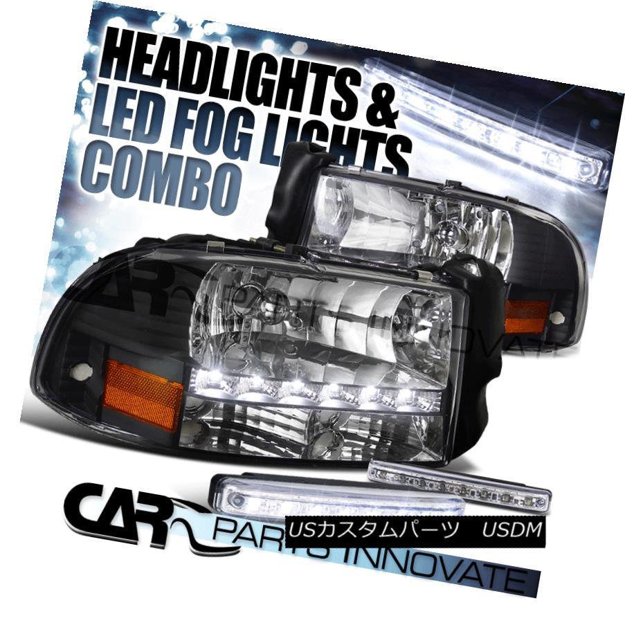 ヘッドライト 97-04 Dodge Dakota Durango SMD DRL Diamond Black Headlights+8-LED Fog Lamps 97-04ダッジダコタデュランゴSMD DRLダイヤモンドブラックヘッドライト+ 8-L  EDフォグランプ