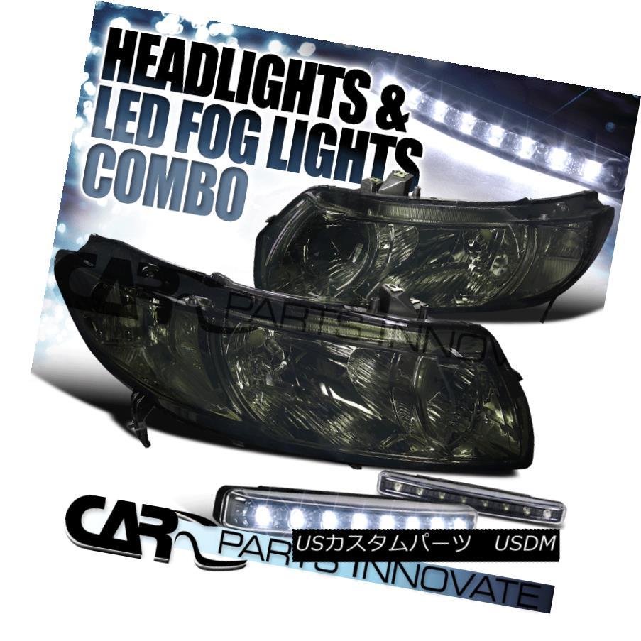 ヘッドライト For 06-11 Honda Civic 2Dr Coupe Smoke Crystal Headlights+8-LED Bumper Fog Lamps 06-11ホンダシビック2Drクーペスモーククリスタルヘッドライト+ 8-L  EDバンパーフォグランプ