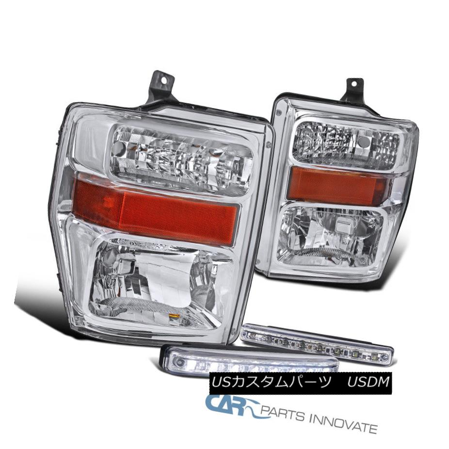 ヘッドライト 08-10 Ford F250 F350 F450 Pickup Chrome Headlights+8-LED DRL Fog Bumper Lamps 08-10 Ford F250 F350 F450ピックアップクロームヘッドライト+ 8-L  ED DRLフォグバンパーランプ