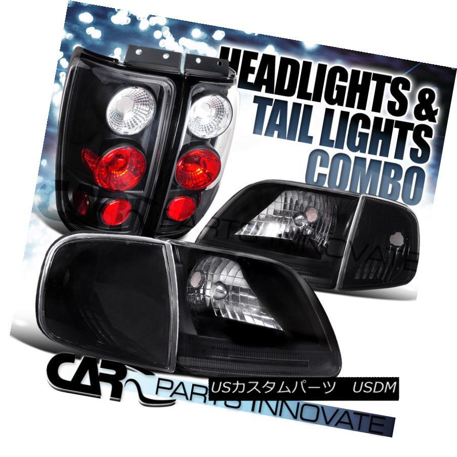 ヘッドライト 1997-2002 Expedition Black Crystal Headlights+Corner Lamp+Black Tail Lights 1997年-2002年遠征用ブラッククリスタルヘッドライト+ Cor  ner Lamp + Black Tail Lights