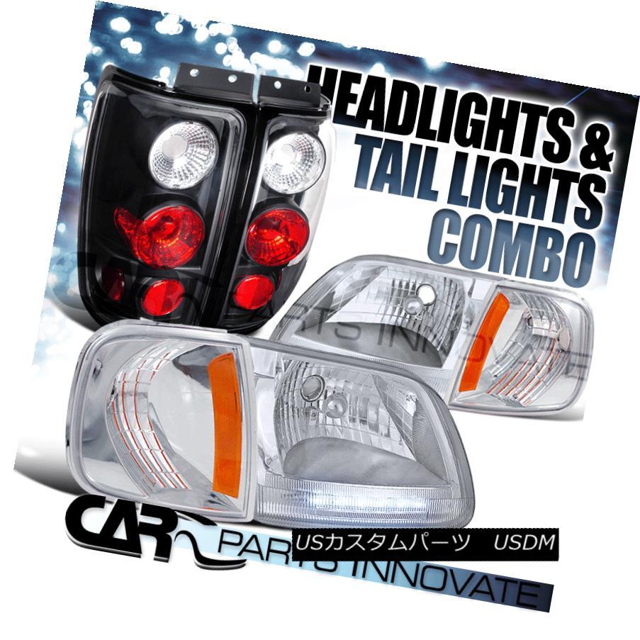 ヘッドライト 1997-2002 Expedition Chrome LED DRL Headlights+Corner Lamp+Black Tail Light 1997-2002遠征クロームLED DRLヘッドライト+コルク nerランプ+ブラックテールライト