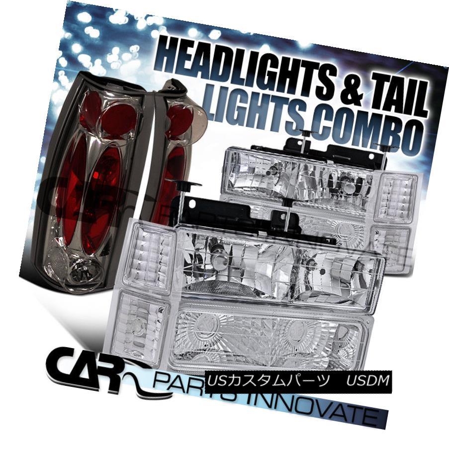 ヘッドライト 94-98 Chevy C10 C/K 1500 2500 Clear Headlights+Bumper Corner+Smoke Tail Lamp 94-98シェビーC10 C / K 1500 2500クリアヘッドライト+ブーン /コーナー+スモークテールランプ