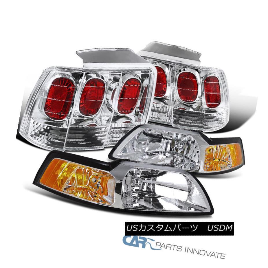 ヘッドライト 99-04 Ford Mustang Clear Headlights Headlamps+Rear Tail Brake Parking Lights 99-04 Ford Mustangクリアヘッドライトヘッドランプ+リアテールブレーキライト