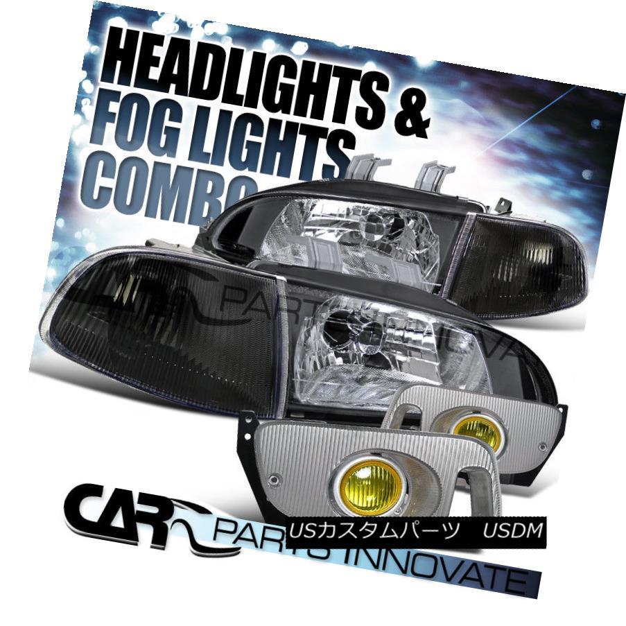 ヘッドライト Fit 92-95 Civic 2/3Dr Crystal Black Headlights+Corner Lights+Yellow Fog Lamps フィット92-95シビック2 / 3Drクリスタルブラックヘッドライト+ Cor  nerライト+イエローフォグランプ