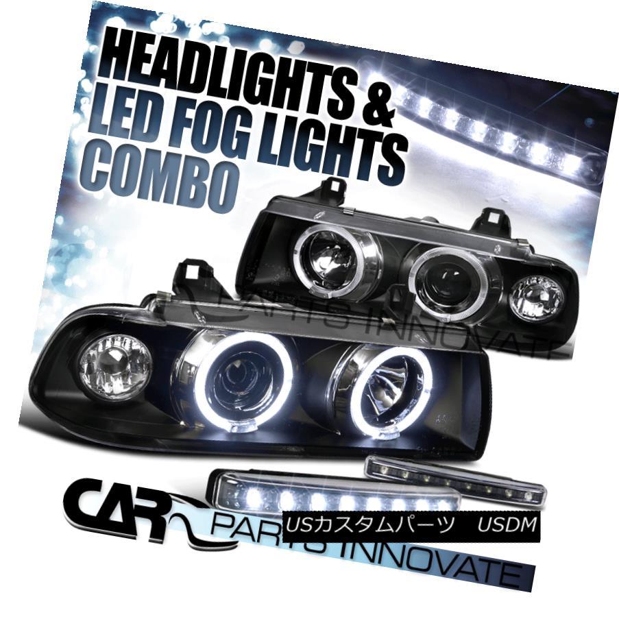 ヘッドライト 92-98 BMW E36 318 325 328 2/4Dr Halo Black Projector Headlights+8-LED Fog Lamps 92-98 BMW E36 318 325 328 2 / 4Drハローブラックプロジェクターヘッドライト+ 8-L  EDフォグランプ