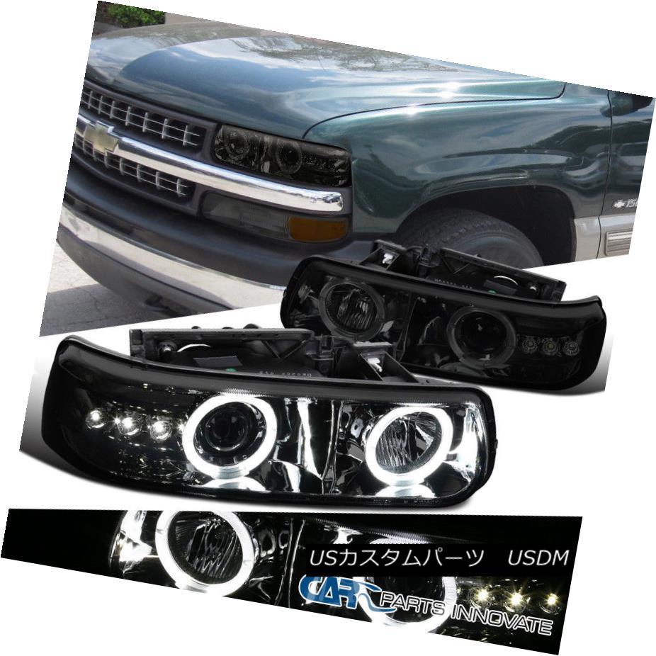 ヘッドライト 99-06 Chevy Silverado Suburban Tahoe Smoke Halo SMD LED Projector Headlights 99-06シボレーシルバラード郊外のタホ煙ハローSMD LEDプロジェクターヘッドライト