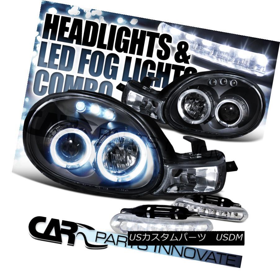 ヘッドライト Dodge Plymouth 00-02 Neon Black Dual Halo Projector Headlights+6-LED Fog Lamps ドッジプリマス00-02ネオンブラックデュアルハロープロジェクターヘッドライト+ 6-L  EDフォグランプ