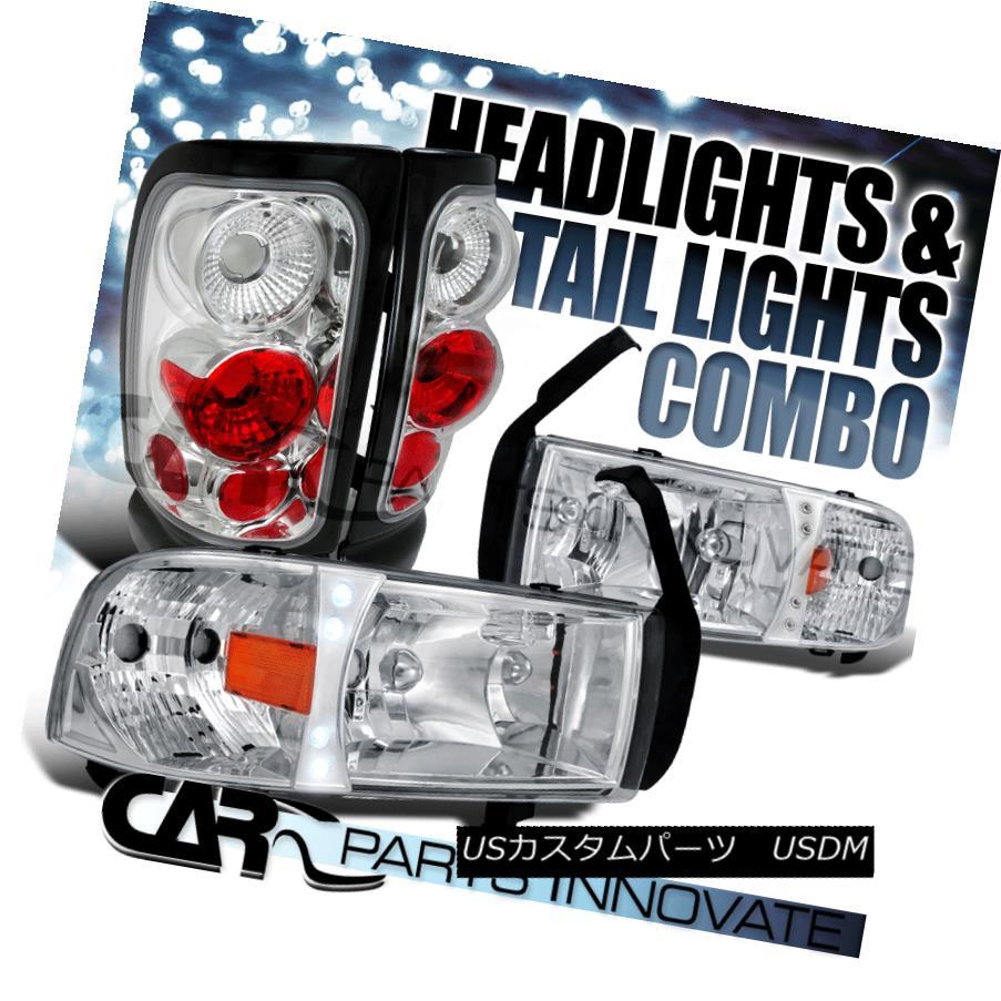 ヘッドライト Dodge 94-01 Ram 1500 2500 3500 Clear LED DRL Headlights+Chrome Tail Brake Lamp Dodge 94-01 Ram 1500 2500 3500クリアLED DRLヘッドライト+ Chr  omeテールブレーキランプ