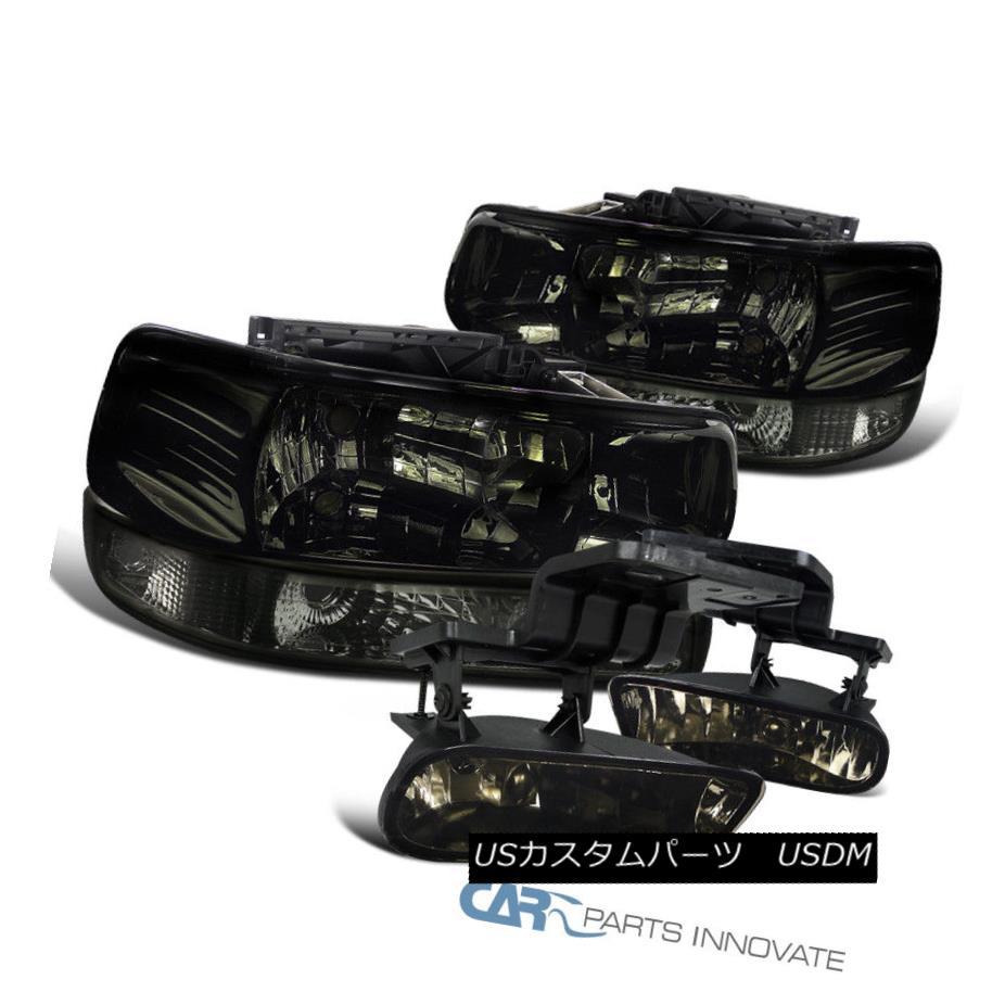 ヘッドライト Chevy 00-06 Suburban Tahoe Smoke Lens Headlights+Bumper Lamps+Driving Fog Lights Chevy 00-06郊外のタホ煙のレンズのヘッドライト+ブーラム 、ランプごと+運転中のフォグライト
