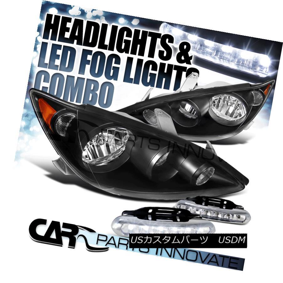 ヘッドライト For 05-06 Toyota Camry Base LE SE XLE Black Clear JDM Headlights+LED Fog DRL 05-06用トヨタカムリベースLE SE XLEブラッククリアJDMヘッドライト+ LEDフォグDRL