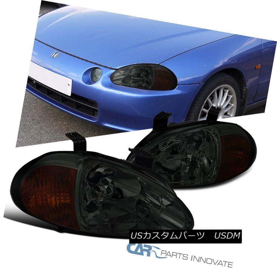 ヘッドライト For 93-97 Honda del Sol JDM Replacement Smoke Lens Tinted Headlights Head Lamps 93-97ホンダ・デル・ソルJDM交換用スモークレンズ用ヘッドランプヘッドランプ