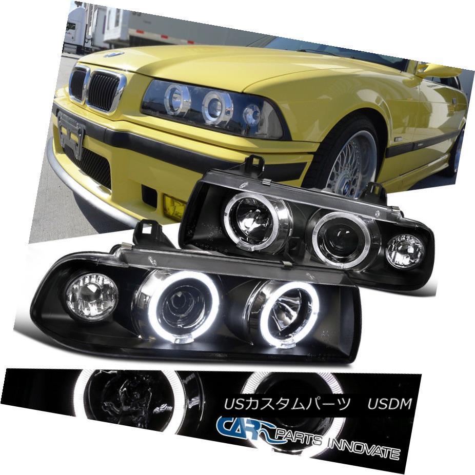 ヘッドライト 92-98 BMW E36 2/4Dr Coupe Sedan Dual Halo 1PC Projector Head Lights Lamps Black 92-98 BMW E36 2 / 4Drクーペセダンデュアルヘロ1PCプロジェクターヘッドライトランプブラック